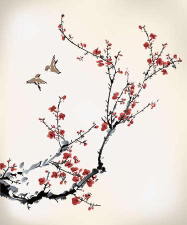 cerisier fleur: hiver d'encre douce Illustration