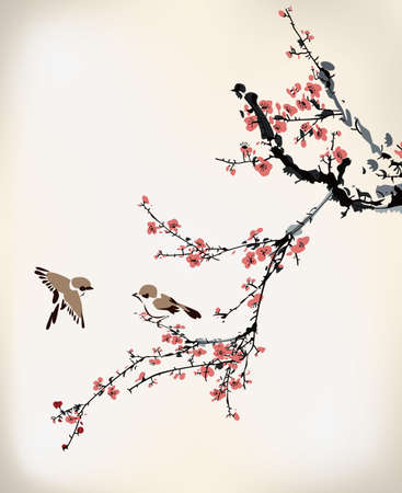 cherry blossom tree: ink winter sweet
