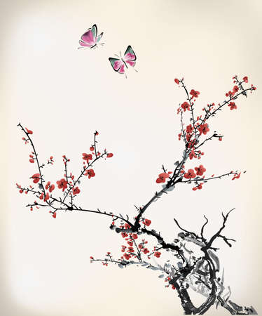 japanese flower: ink winter sweet