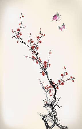 ramo di ciliegio: inverno inchiostro dolce Vettoriali