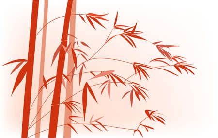 lucky bamboo: Red Chinese bamboo hand drawing