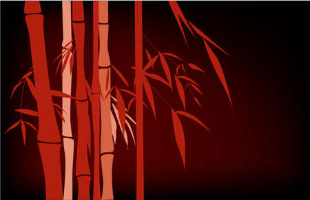 Red Chinese bamboo hand drawing  Vector