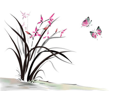 Chinese Orchid and butterfly ink style Vector