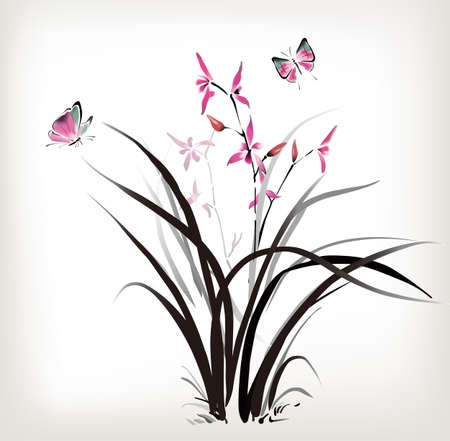 exotic butterflies: Chinese Orchid and butterfly ink style