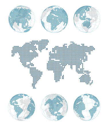 world globe map: dotted world Illustration