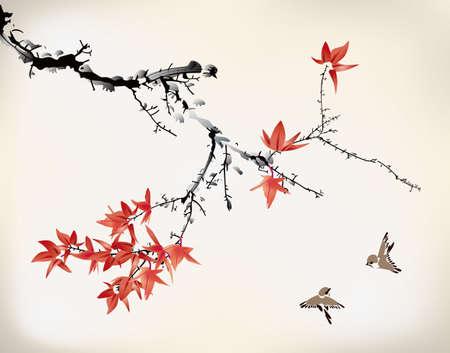 esdoorn bladeren Stock Illustratie