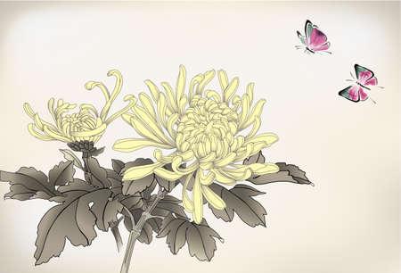 엄마와 나비 중국 스타일의 그림