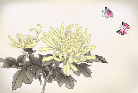 mum and butterfly  chinese style painting