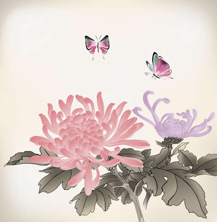 chinese watercolor: mum and butterfly  chinese style painting