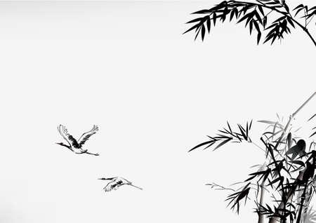 잉크 스타일의 대나무와 크레인