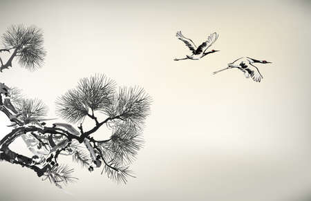 water birds: Ink style Pine Tree and birds Illustration