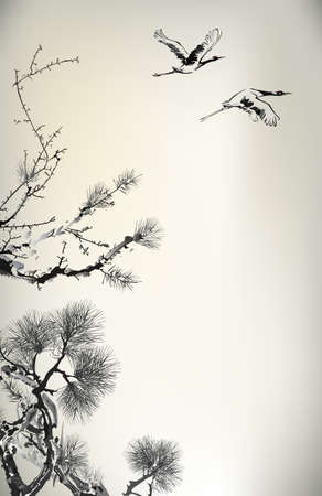 black bird: Ink style Pine Tree and birds Illustration