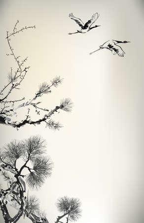 vinçler: Mürekkep tarzı Çam Ağacı ve kuşlar