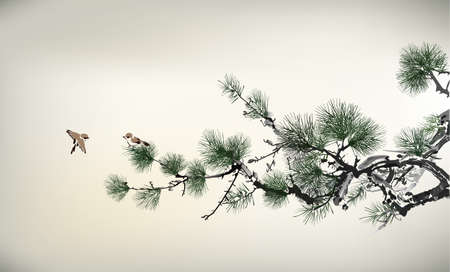Ink style Pine Tree and birds Ilustracja