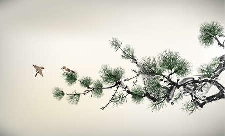 albero pino: Stile di inchiostro Pino e gli uccelli