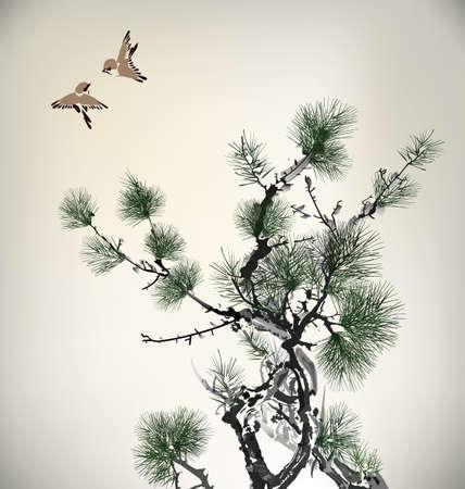 arbol de pino: Estilo de tinta del árbol de pino y las aves Vectores