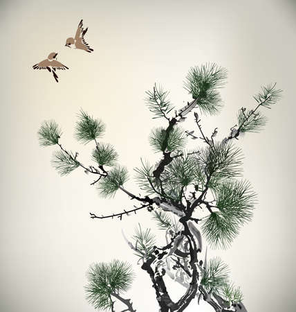 Ink style Pine Tree and birds Banco de Imagens - 22222361