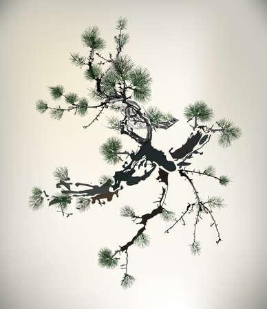 Ink style Pine Tree  Ilustração