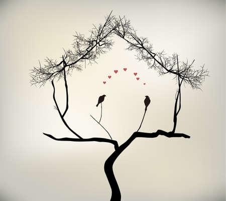 happy couple house: birds and tree