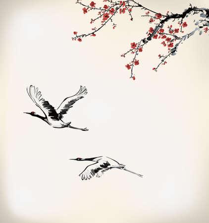 ramo di ciliegio: inverno dolce cornice Vettoriali