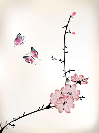 cherry pattern: blossom painting