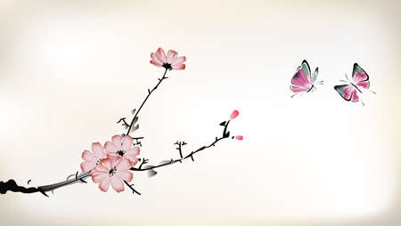 japanese flower: blossom painting