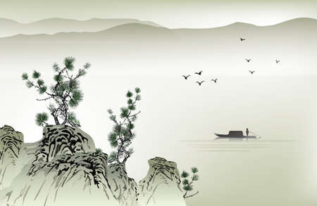 birds lake: Chinese painting