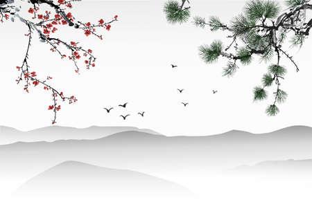 cerisier fleur: Peinture chinoise