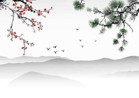 cerezos en flor: Pintura china Vectores