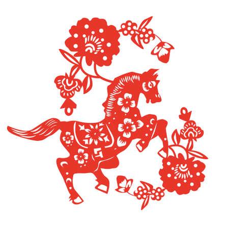 knippen: paard papier gesneden Stock Illustratie