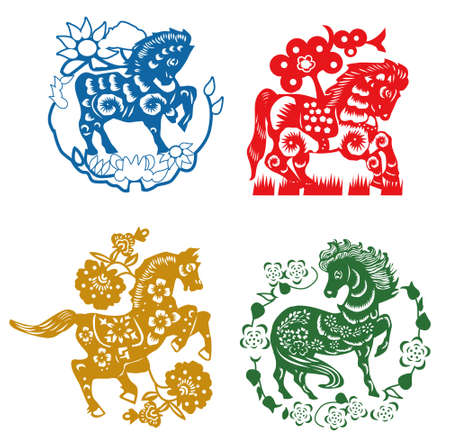 year of horse: horse paper cut