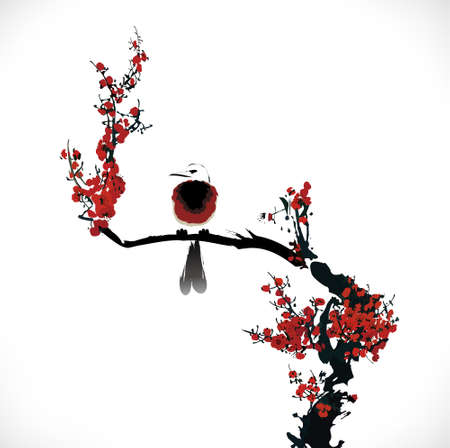 cherry branch: bird painting