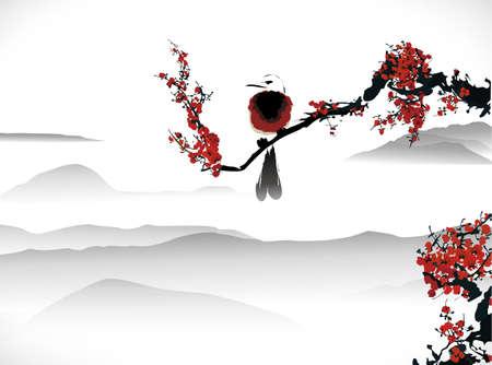 japanese garden: bird painting