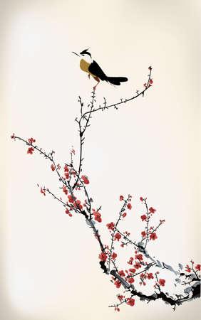 japanese style: bird painting