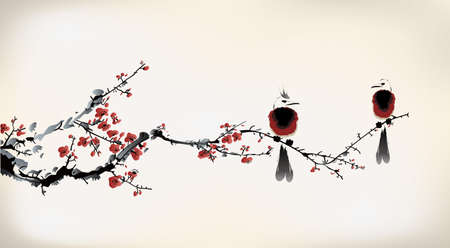 fleur de cerisier: peinture d'oiseau