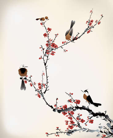 cherry blossoms: bird painting