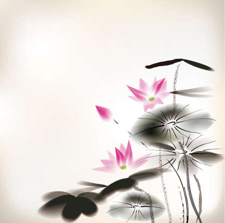 watercolours: waterlily painting Illustration