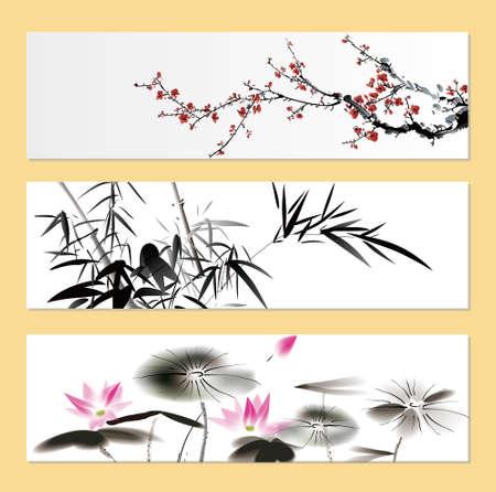 自然絵画  イラスト・ベクター素材