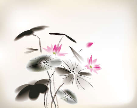dessin fleur: peinture n�nuphar