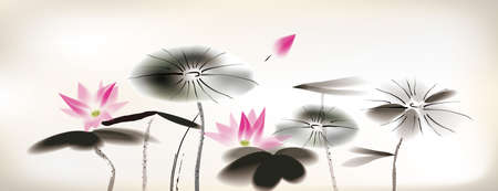 waterlily: waterlily painting Illustration
