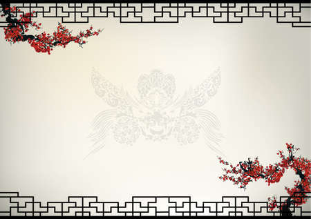 floral border: Chinese background