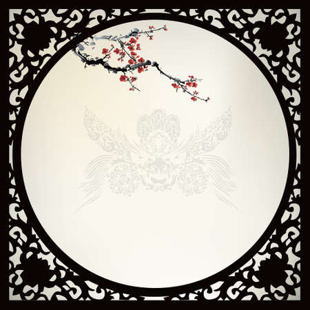 blossom: Chinese pattern background Illustration