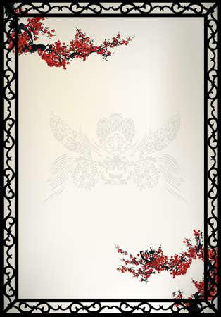 dragon fruit: Chinese pattern background Illustration