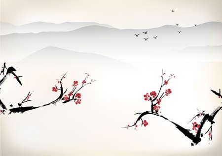 中国絵画  イラスト・ベクター素材