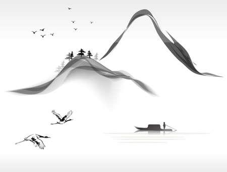 landschap schilderij Stock Illustratie