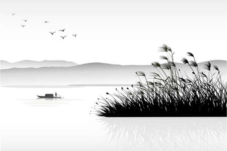 grass silhouette: reeds painting Illustration