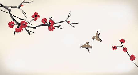 sakuras: pintura flor