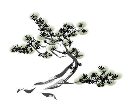 Ink painting pine tree Çizim