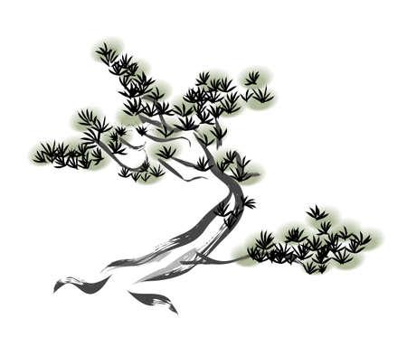 Inkt schilderij dennenboom