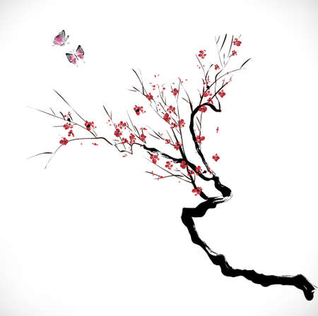 ink style blossom Vector